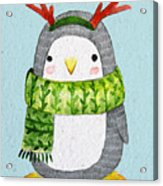 Cute Penguin In Scarf. Watercolor Acrylic Print