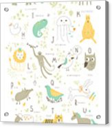 Cute Zoo Alphabet With Funny Animals In Acrylic Print