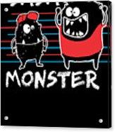 Dada Monster Cute Monster Cartoon For Kids And Dad Dark Acrylic Print