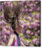 Dancing And Cherry Blossoms Acrylic Print