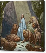 Daniel In The Den Of Lions  Engraving By Gustave Dore Acrylic Print