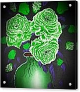 Dark And Delicious Roses  In Green Acrylic Print
