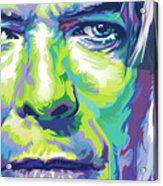 David Bowie Portrait In Aqua And Green Acrylic Print