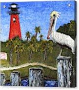 Aceo Dawn At Jupiter Inlet Lighthouse Florida 52a Acrylic Print
