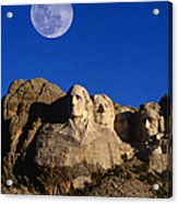 Daytime Moon Above Presidential Faces Acrylic Print