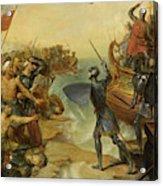 Debarquement De Saint Louis, A Damiette En Egypte, 1249 Acrylic Print
