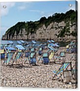 Deckchairs At Beer, Devon, Uk 2013 Acrylic Print