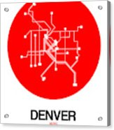 Denver Red Subway Map Acrylic Print