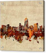 Denver Skyline Sepia Acrylic Print