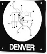 Denver White Subway Map Acrylic Print