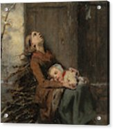 Destitute Dead Mother Holding Her Sleeping Child In Winter, 1850 Acrylic Print