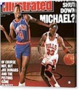 Detroit Pistons Joe Dumars, 1989 Nba Basketball Preview Sports Illustrated Cover Acrylic Print