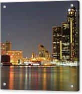 Detroit Skyline At Night Acrylic Print