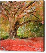 Digital Watercolor Painting Of Beautiful Autumn Fall Nature Fair Acrylic Print