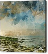 Digital Watercolor Painting Of Beautiful Landscape Panorama Suns Acrylic Print