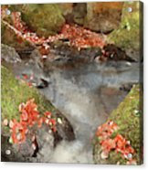 Digital Watercolor Painting Of Blurred Water Detail With Rocks N Acrylic Print