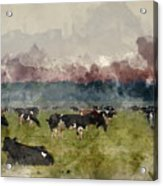 Digital Watercolor Painting Of Cattle In Field During Misty Sunr Acrylic Print