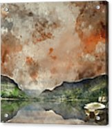 Digital Watercolor Painting Of Llyn Nantlle At Sunrise Looking T Acrylic Print