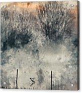 Digital Watercolor Painting Of Panorama Landscape Of Lake In Mis Acrylic Print