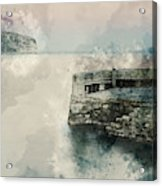Digital Watercolor Painting Of Peaceful Landscape Of Stone Jetty Acrylic Print