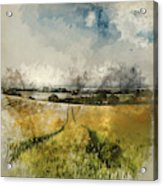 Digital Watercolor Painting Of Stunning Countryside Landscape Wh Acrylic Print