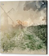 Digital Watercolor Painting Of Windmill In Stunning Landscape On Acrylic Print