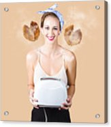 Diner Pinup Girl Serving Breakfast Love Acrylic Print