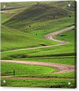 Dirt Road Through Green Hills Acrylic Print