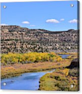 Distant Boat On The San Juan River In Fall Acrylic Print