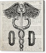 Doctor Of Optometry Gift Idea With Caduceus Illustration 01 Acrylic Print
