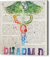 Doctor Of Pharmacy Gift Idea With Caduceus Illustration 03 Acrylic Print