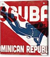Dominican Republic Scuba Diver - Blue Retro Acrylic Print