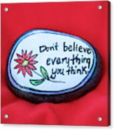 Don't Believe Everything You Think Painted Rock Acrylic Print