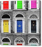 Doors Of Dublin - Vertical Acrylic Print