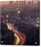 Downtown Los Angeles Skyline At Acrylic Print