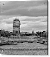 Dublin Ireland - Ha Penny Bridge In Black And White Acrylic Print