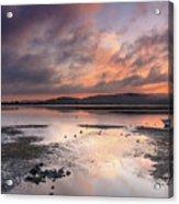 Dusky Pink Sunrise Bay Waterscape Acrylic Print
