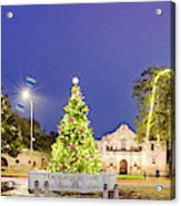Early Morning Panorama Of Christmas Tree And Lights At The Alamo Mission - San Antonio Texas Acrylic Print