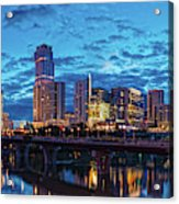 Early Morning Panorama Of Downtown Austin From South Lamar Bridge Over Lady Bird Lake - Austin Texas Acrylic Print