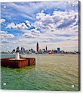 East Pierhead Lighthouse View Of Cleveland Acrylic Print