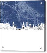Edinburgh Skyline Map Blue Acrylic Print
