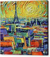 Eiffel Tower And Paris Rooftops In Sunlight Textural Impressionist Stylized Cityscape Mona Edulesco Acrylic Print