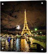 Eiffell Tower At Night After The Storm Passed Acrylic Print