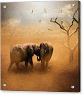 Elephants At Sunset 072 - Painting Acrylic Print