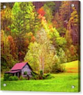 Embraced In Autumn Color Painting Acrylic Print