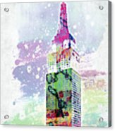 Empire State Building Colorful Watercolor Acrylic Print
