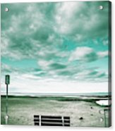 Empty Beach Bench Acrylic Print