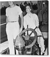 Errol Flynn And Lili Damita On Fishing Acrylic Print