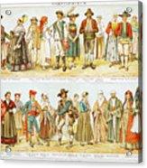 European Costumes Lithograph 1897 Acrylic Print