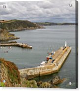 Evening Over Mevagissey Harbour  Acrylic Print